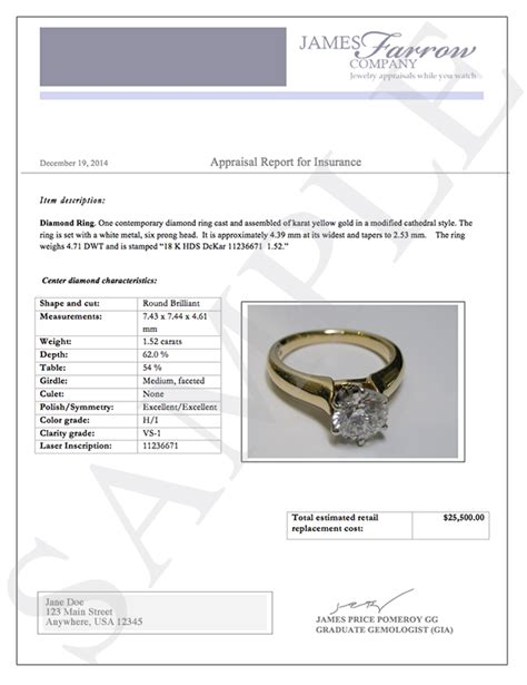 image gallery jewelry appraisal template