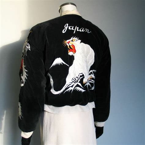 Look Korean Jaket Baseball Brown 1950s velveteen satin japan souvenir jacket with eagles snow leopard and dragons animals in