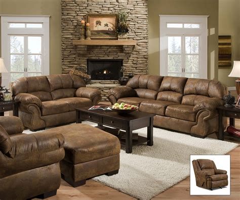 livingroom furnitures pinto tobacco finish microfiber living room sofa and