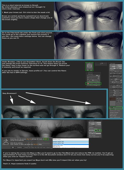 Zbrush Eyebrows Tutorial | fibermesh eyebrow tutorial by polyjunky on deviantart