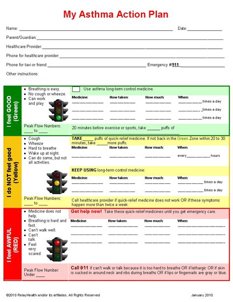 asthma care plan template pediatric asthma clinic ebnhc