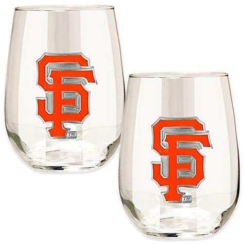 sf giants bathroom set mlb san francisco giants stemless wine glass set of 2