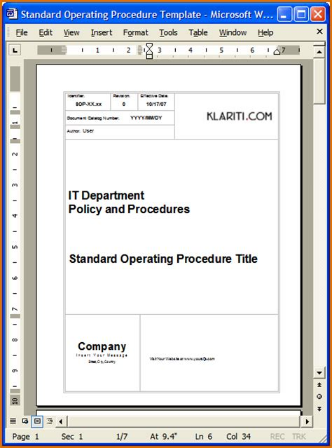 standard operations manual template 10 standard operating procedure template