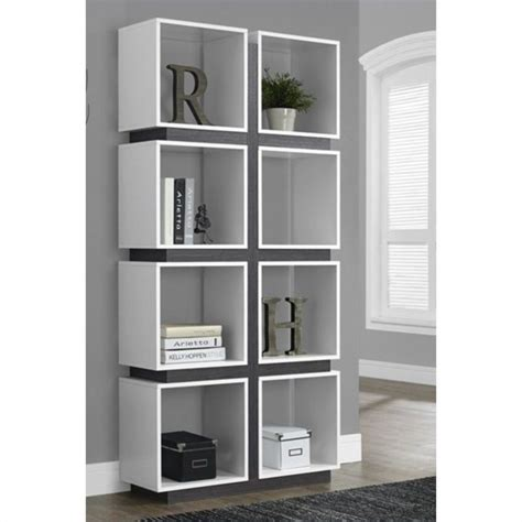monarch 71 quot hollow bookcase in white and gray 496150