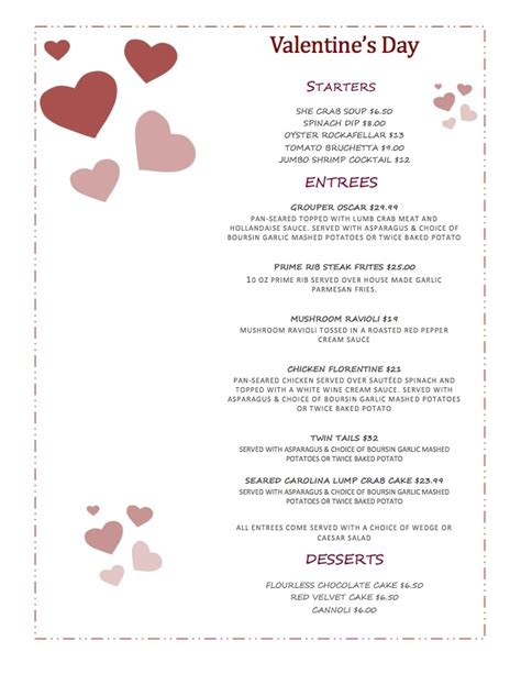 s day website special valentines dinner isle