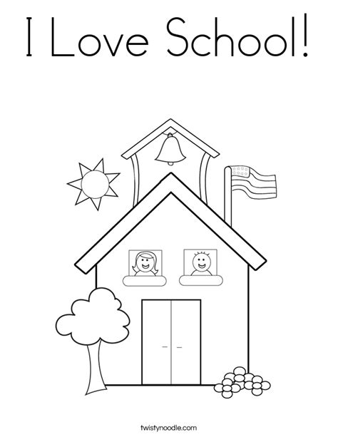 I Love School Coloring Page Twisty Noodle School Coloring Pages