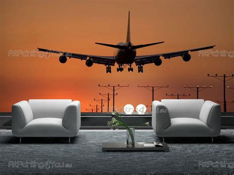 airplane wall murals wall murals sunset canvas prints posters airplane 1255en