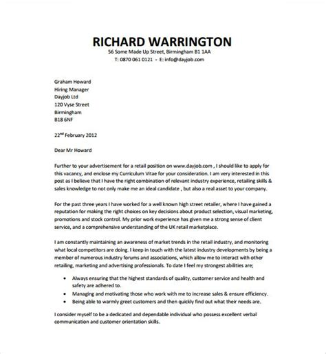 general cover letter template word