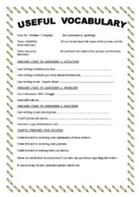 Complaint Letter Ending Phrases Teaching Worksheets A Letter Of Complaint