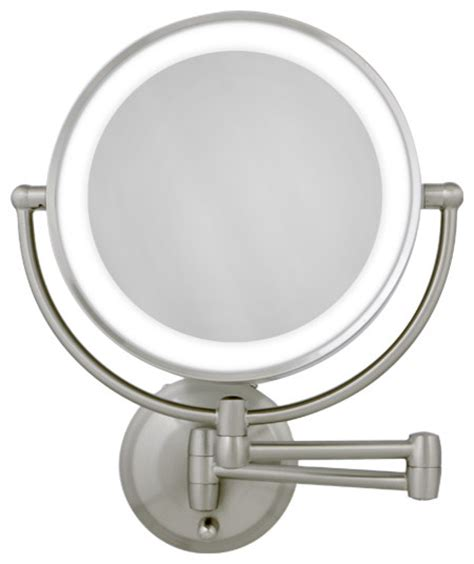 10x 1x satin nickel led lighted wall mirror modern