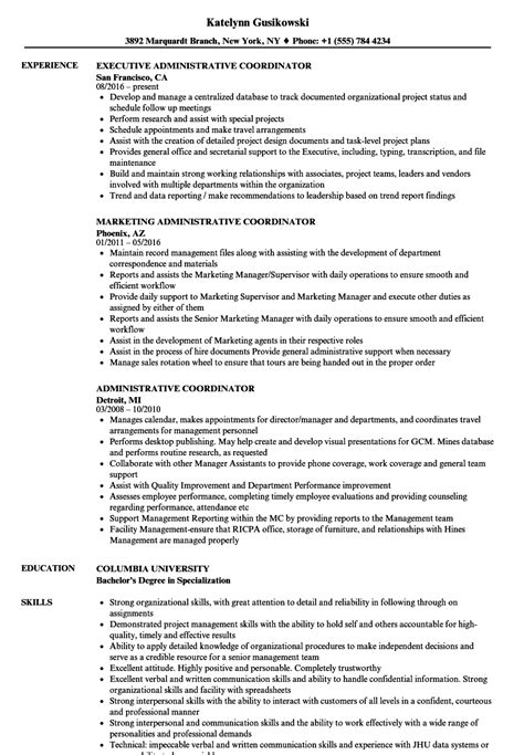 administrative coordinator resume sle kindest up letter 28 images image result for donation