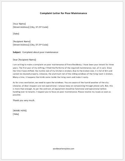 Complaint Letter Hd complaint letter for poor maintenance word excel templates