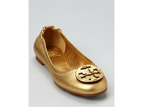 Vanda Gold Ballerina Flats lyst burch flats reva metallic tumbled in metallic