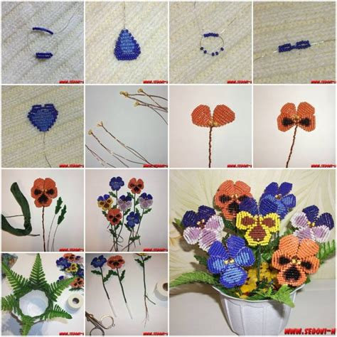 how to bead a flower how to make pansy flower step by step diy tutorial