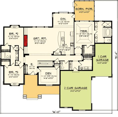 split bedroom ranch home plan 89872ah 1st floor master