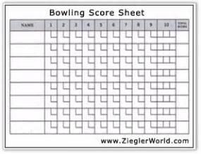 Ten Pin Bowling Score Sheet Template by Pe Unit