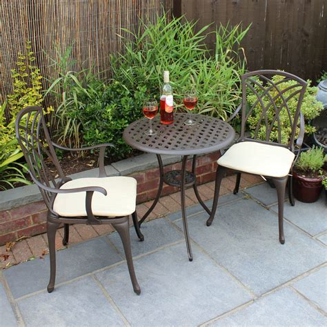 Aluminium Bistro Table And Chairs Bentley Garden Cast Aluminium Bistro Table And Chairs Set