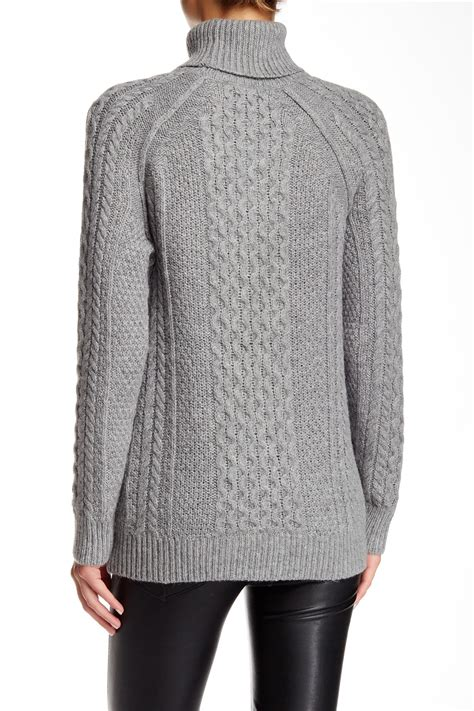 cable knit turtleneck vince cable knit turtleneck sweater in gray lyst