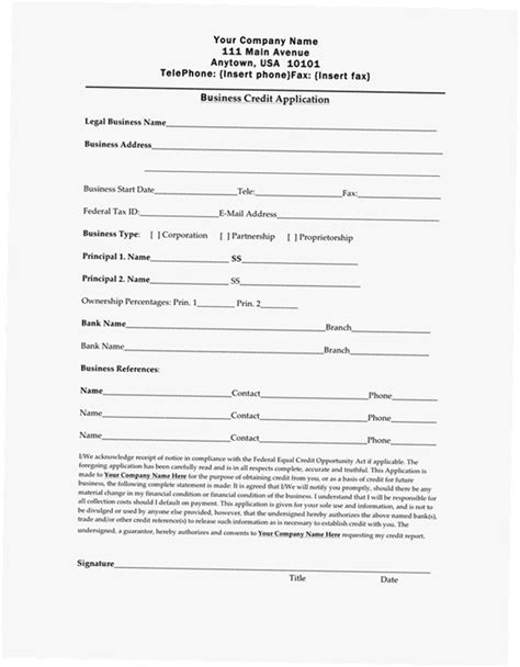 Credit Application Form Business Business Credit Application Form Pdf Images