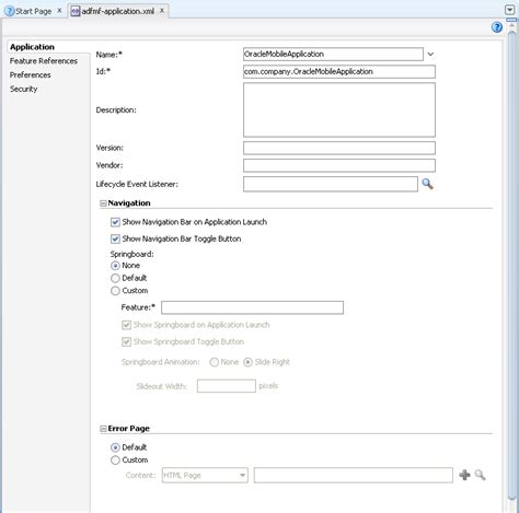 adf mobile application defining an adf mobile application