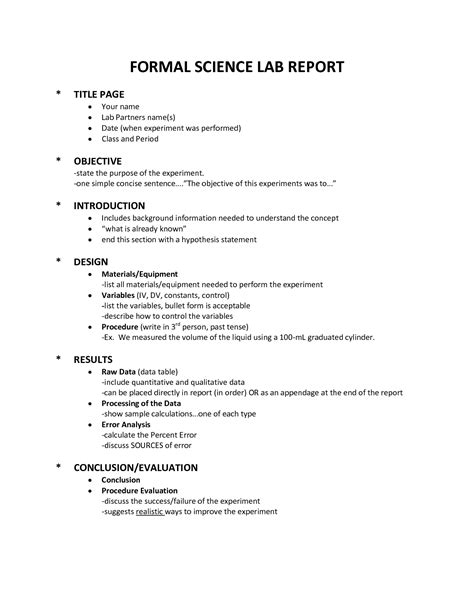 Science Project Written Report Sample Order Of A Lab Report Custom Writing Website