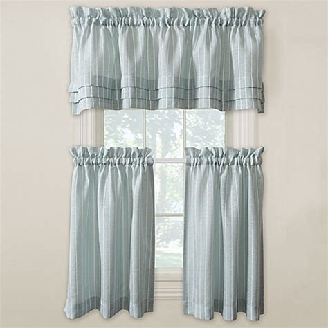 24 Inch Kitchen Curtains Buy Langley 24 Inch Kitchen Window Curtain Tier Pair In Aqua From Bed Bath Beyond