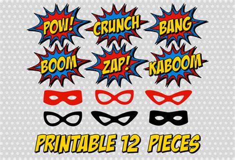 printable superhero photo booth props free printable superhero photo booth party comic sound effect