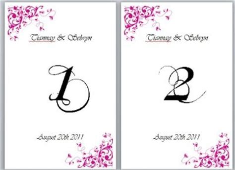 need table numbers template weddings do it yourself
