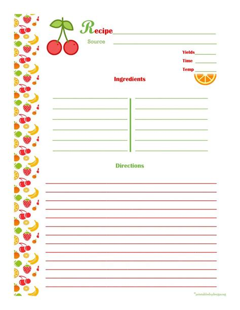 printable recipe book pages templates franklinfire co