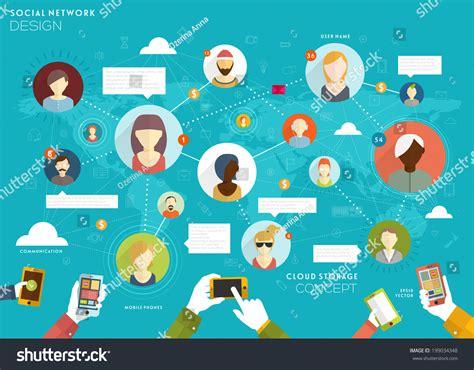 home design social network social network vector concept flat design stock vector