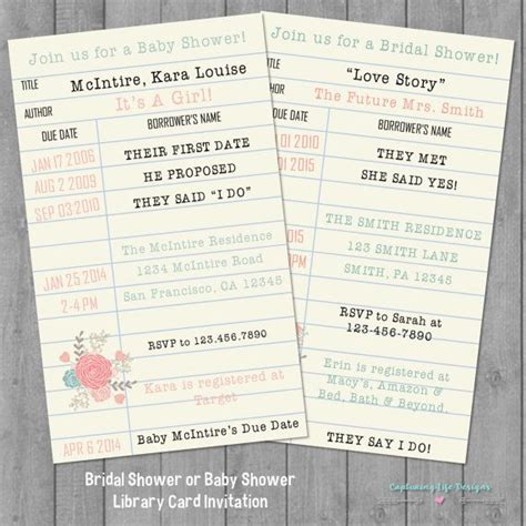 Library Card Baby Shower Invitation by Library Card Bridal Shower Or Baby Shower Invitation