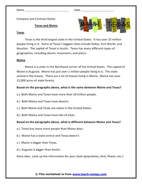 Critical Thinking Worksheets by And Maine Compare And Contrast States