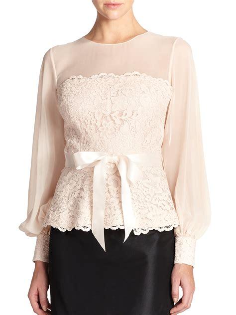 14055 Soft Chiffon With Inner Silk Lace Back Zipper teri jon lace chiffon blouse in pink lyst