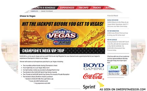 Speedway Com Sweepstakes - lvms com chasetovegas las vegas motor speedway chase to vegas sweepstakes directory