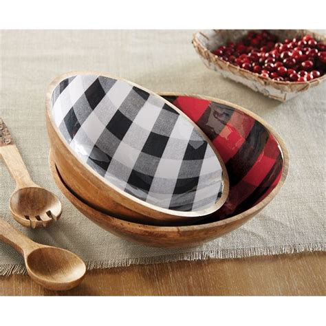 buffalo check wood bowl set mud pie