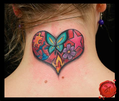 flower heart tattoos flower butterfly on back of neck