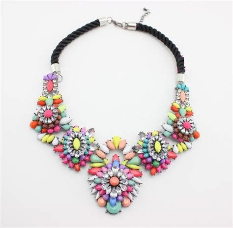 floral colorful statement jewelry evening necklace