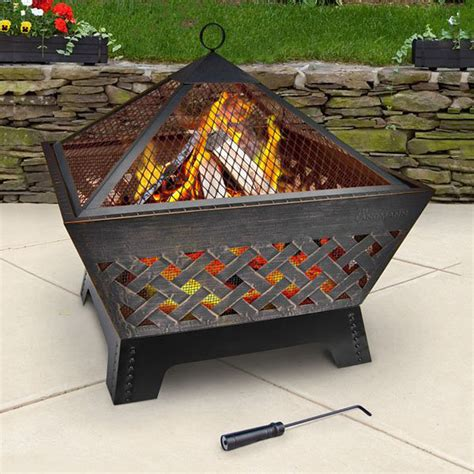 backyard fire pit lowes shop landmann usa 26 3 in w antique bronze steel wood