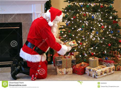 santa claus and the trees santa claus delivering presents stock image image 45606929