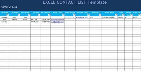get excel contact list template microsoft excel templates