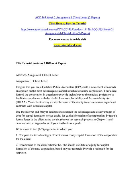 up letter assignment acc 565 week 2 assignment 1 client letter 2 papers by