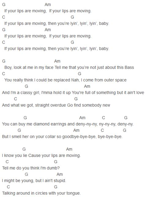 printable lyrics to your lips are moving meghan trainor lips are moving chords meghan trainor