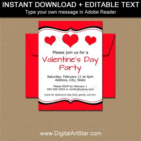 Valentine Invitations Valentines Day Invitation Template Editable School Valentines Day Day Invitations Template