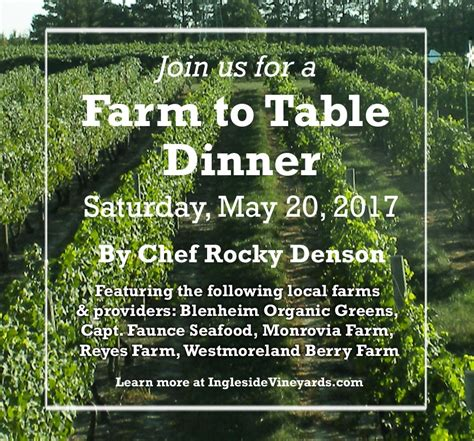 farm to table events upcoming events farm to table dinner ingleside vineyards
