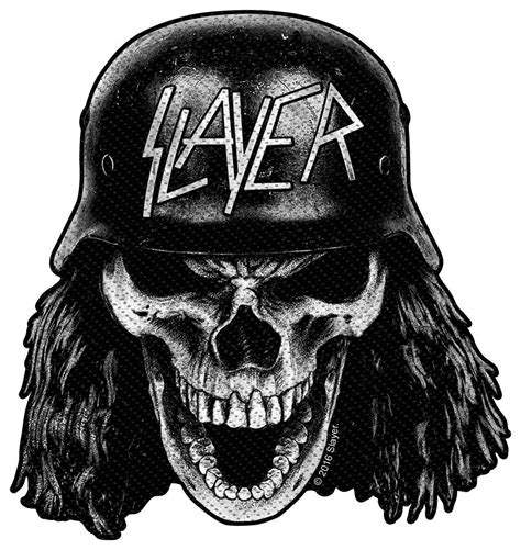slayer wehrmacht skull woven patch heavy metal