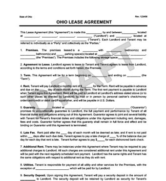 Ohio Residential Lease Rental Agreement Forms Template Free Pdf Free Residential Lease Agreement Template Ohio