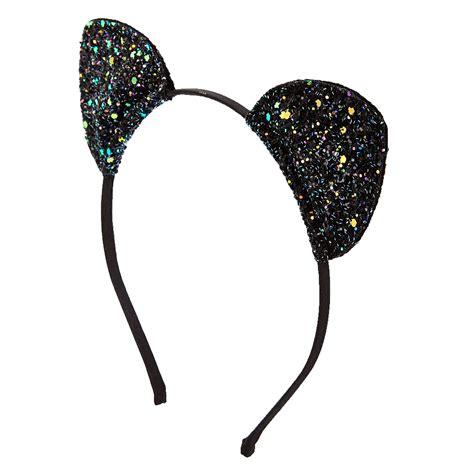 Ear Hairband black glitter cat ears headband s