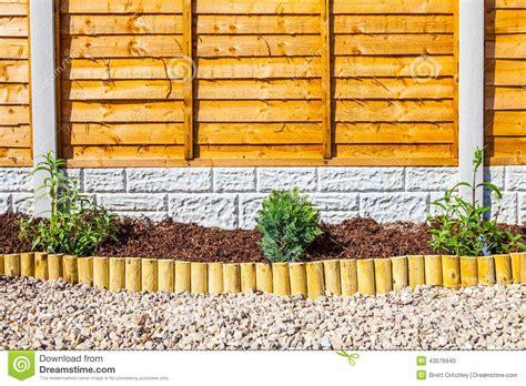 Landscape Edging Wooden Posts New Landscaped Wood Chip Garden Border Stock Photo Image