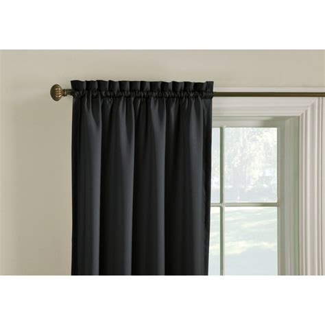 lowes window curtains shop style selections walker 63 in l solid black thermal