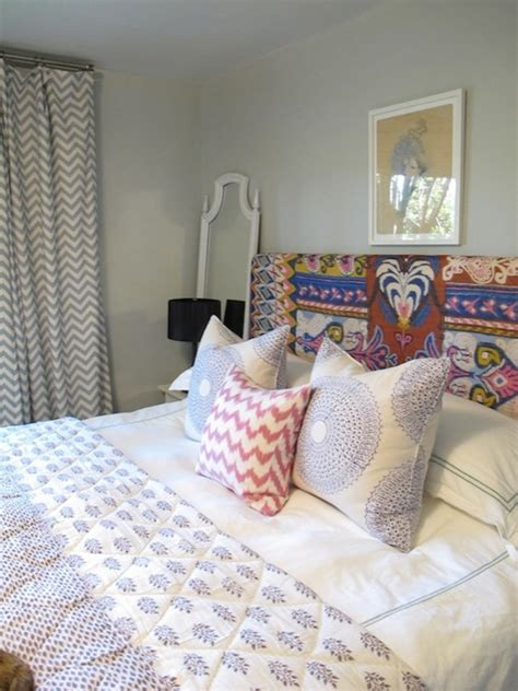 chevron bedrooms gray chevron curtains eclectic bedroom amber interiors
